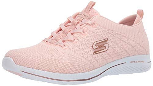 Skechers City Pro Glow On, Zapatillas Mujer, Rosa (Light Pink & Rose Gold Knit/White Trim Lprg), 40 EU