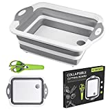 Collapsible Sink Cutting Board, HI NINGER Foldable Cutting Board with Multifunction Scissors Portable Camping Kitchen Silicone Sink Vegetable Washing Basket Sink for BBQ Prep/Picnic/Camping(White)