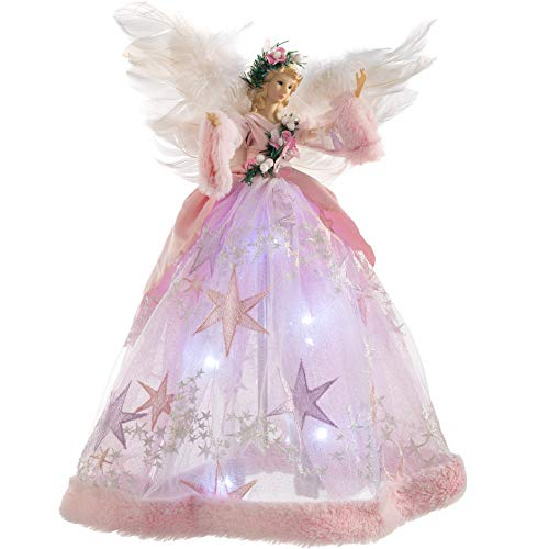 WeRChristmas Pre-Lit Christmas Angel Tree Topper, Pink, 43cm
