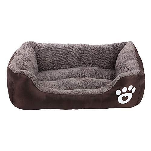 MISSMAO_FASHION2019 Hundebett,Hundesofa aus Cordura, Microfaser-Velours, waschbares Hundebett mit Rand, Hundekissen Vier-eckig Braun XL(80x65cm)