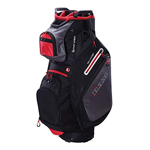 Ram Golf FX Deluxe Golf Cart Bag with 14 Way Dividers Black/Grey/Red