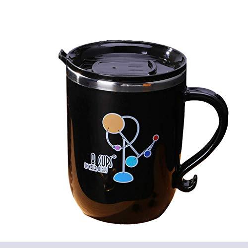cup CWT cerámica 304 de acero inoxidable de café de cerámica con tapa para beber en la oficina o el hogar taza de té antiquemadura (color: negro)