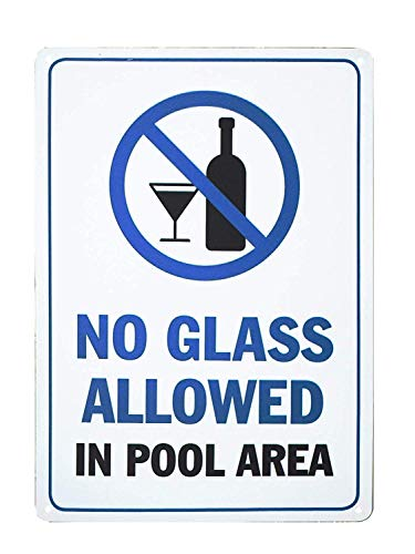 "Schwimmbad-Sicherheitsschild ""No Glass Allowed in Pool Area Pool Rules"", 20,3 x 30,5 cm"