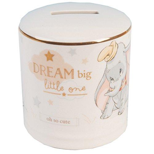 Widdop WBM-GFT72 Disney Magische Anfängen Keramik Spardose Bank, mit Gold Detail–Dumbo, transparent, 200 g