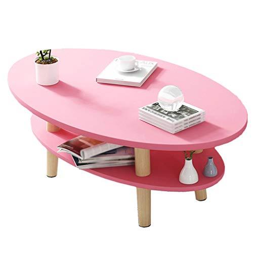 YULAN Nordic stolik kawowy, domowy, małe mieszkanie, salon, mały okrągły stół, rozkładana sofa, nogi z litego drewna, ekonomiczny stolik pomocniczy (kolor: różowy)