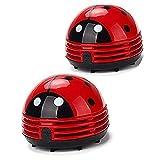 Ladybug Cartoon Mini Vacuum Cleaner 2Pcs Cordless Corner Desktop Vacuum Cleaner Mini Cute Vacuum Cleaner Dust Sweeper Battery Operated