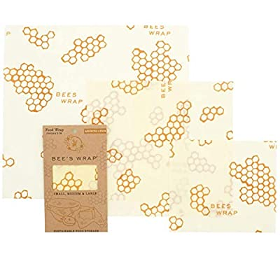 Bee?s Wrap ? Assorted Set of 3 ? Certified B Corporation ? No Synthetic Wax or Chemicals ? Holds for Up to a Year ? Sustainable and Reusable Beeswax Food Wraps with Jojoba Oil ? 3 Sizes (S, M, L)