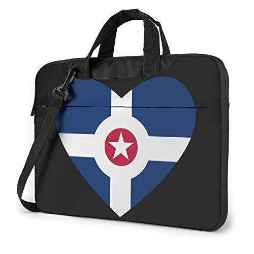 Flag of Indi-anapolis Heart Laptop Bag Un Hombro Bolsa para computadora portátil...