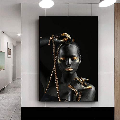 Mujer africana negra sosteniendo joyas doradas lienzo pintura pared arte Cuadros carteles impresiones escandinavas imagen decoración del hogar 60x80 CM (sin marco)