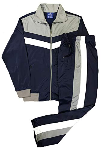 Men's rtGlad Activewear Track Pant and Track Jacket Sports Jogger Athletic Debut 90's Outfit Set (Deep Blue, L)