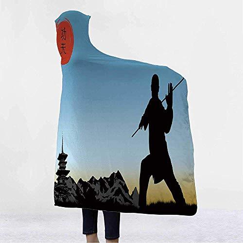 Kung Fu, tragbare Kapuzendecke, Mannsilhouette demonstriert Karate-Technik, Mädchen, Jungen