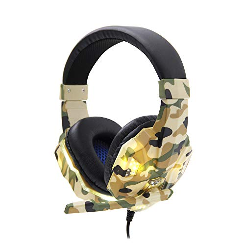 SY830MV Gaming headset 3,5 mm kabel over oor hoofdtelefoon noise cancelling E-sport hoofdtelefoon met microfoon LED-licht AUX + USB voor desktop-pc Camouflage Yellow.