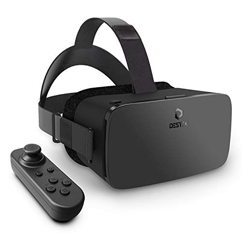 DESTEK Updated V5 VR Headset,110°FOV, Anti-blue Light HD Lens Virtual Reality Headset VR Set for iPhone 12/11/X/8/7/6,w/Bluetooth Controller for Samsung S10/S9/Note10/9 Phone 4.7-6.8in Screen