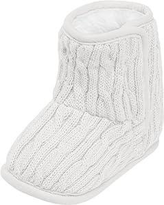 Playshoes Calzado de Punto Forrado, Zapatos para Gatear Unisex niños, Blanco (Nature 2), 18/19 EU