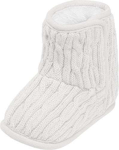 Playshoes gestrickte Baby-Schuhe mit Klettverschluss,Weiß (natur),18/19 EU