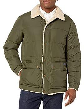 IZOD Men s Quilted Microfiber Hipster Jacket W/Sherpa Trim Olive Medium