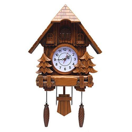 Reloj De Cuco, Artesanía De Época Casa De Madera del Árbol,Reloj De Pared De Moda para Dormitorio, Sala De Estar, Escuela, Oficina, Decoración,Natural