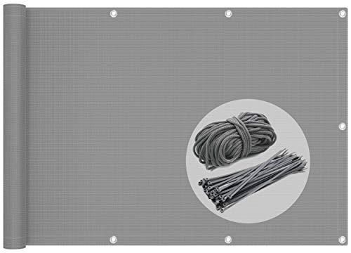 VOUNOT Brise Vue pour Balcon 100% HDPE 230g/m2 Protection UV Résistant aux Déchirures et au Vent Protection Contre Les Regards avec Attaches de Câble et Cordons 600x90cm Gris