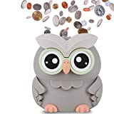 AMAGO Owl Coin Bank,Cute Piggy Bank for Boys, Girls and Adults, Digital Savings Bank as a for Kids, Coin Jar with 2 AAA Batteries ,not Included.