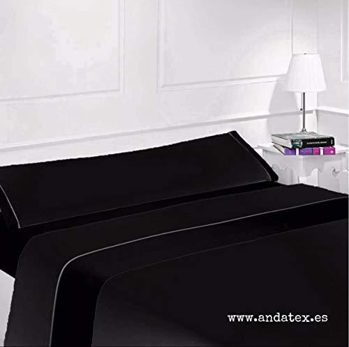Andatex Juego de Sábana - Negro - Tacto Seda - Microfibra (105cm)