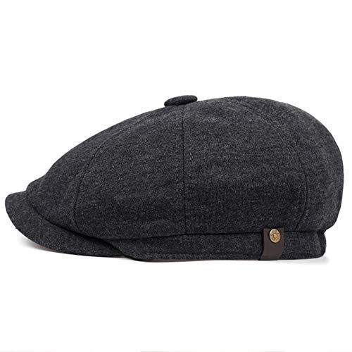 AROVON Newsboy Cap Hombres Sarga Algodón Ocho Panel Sombrero Mujer Baker Boy Gorras Retro Grandes Sombreros Macho Boina Negro Boina