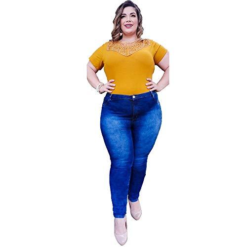 Promoção Kit 2 Calças Jeans Femininas Com Elástano Plus Size Variadas Tamanho:52;