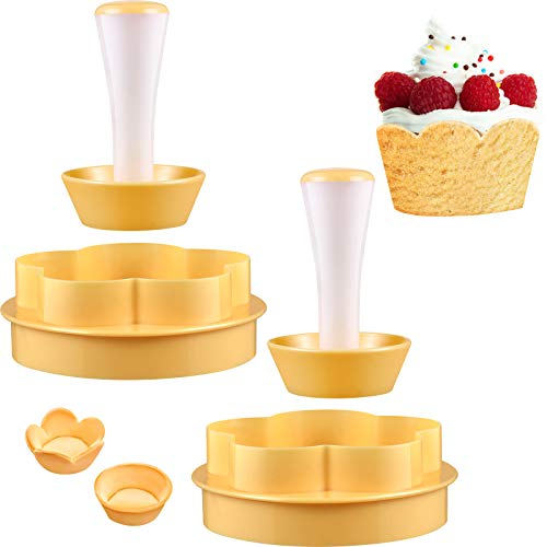 2 Pieces Pastry Dough Tamper Kit Presser Cupcake Muffin Flower Round Mold DIY Baking Kit Cake Cup Press Biscuit Moldfor Muffin Donut Bakeware Cake Tools with 6 Cavity Muffin Pan
