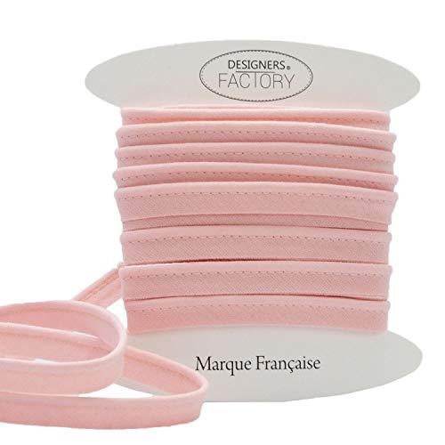 Passepoil Coton – Plus de 20 coloris disponibles - Galon Passepoil Couture en coton de très belle qualité facile à coudre et idéal pour ennoblir vos créations (Par 5 mètres, Rose layette)