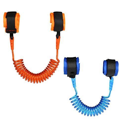 LIHAO 2 Correa de Muñeca Antipérdida Arnés de Seguridad para Niños (Azul y Naranja)(1,5m y 2m)