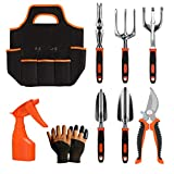 Gardening Tool Set - 9 Pieces Aluminium Alloy Garden Tools Kit Included Hand Trowel Shovels Rake, Garden Gloves and Garden Tote, Heavy Duty Garden Spade, Steel Pruning Shears, Garden Gifts