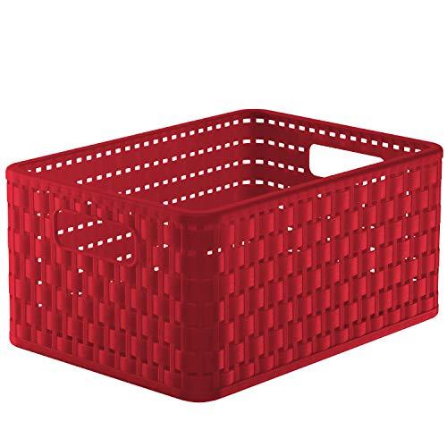 Rotho Country - Caja de almacenaje con efecto de mimbre, Rojo, A5+