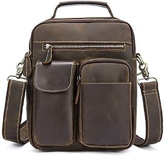 YXHM AU Men's Genuine Leather Vintage Single Shoulder Mad Horse Leather Male Bag (Color : Coffee)