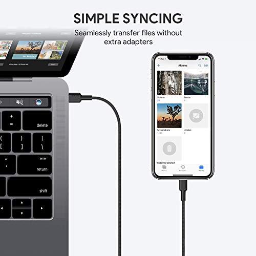 AUKEY USB C auf Lightning Kabel 1.2m [ Apple MFi Zertifiziert ] Nylon iPhone Kabel für iPhone 11 / XS Max/X / 8/8 Plus / 7/7 Plus / 6s / 6s Plus / 6/6 Plus