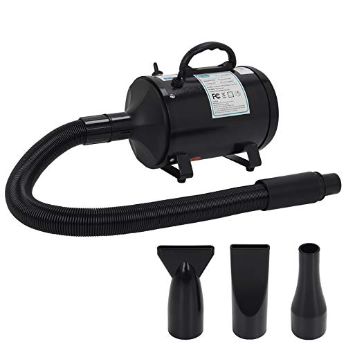 winniehome Professional Grooming Dog Hair Dryers for Dogs and Cats,3.2HP Stepless Adjustable Speed Pet Hair Force Dryer Dog Grooming Blower with Heater, Black
