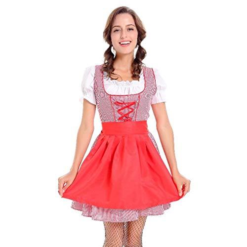 VEMOW Damen Kostüme ELegant Damen 3 Stück Dirndl Kleid Bluse Costumes rachtenkleid mit Stickerei Traditionelle bayerische Oktoberfest Karneval(Rot, EU-40/CN-XL)