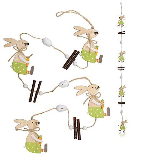 COM-FOUR® Set van 2 decoratieve hangers, paashaasslinger van hout om aan deuren, muren, ramen, gordijnrails te hangen (02 stuks - hanger - konijnen en eieren)