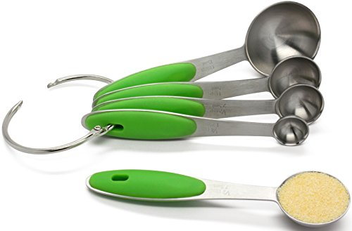 18/8 Stainless Steel Measuring Spoons by Kitchen Zest, 5-Pcs Spoon Set with Engraved Measurements for Measuring Any Ingredients - Soft-Touch Green Ergonomic Handles, Removable Ring Keeps Spoons in One Place