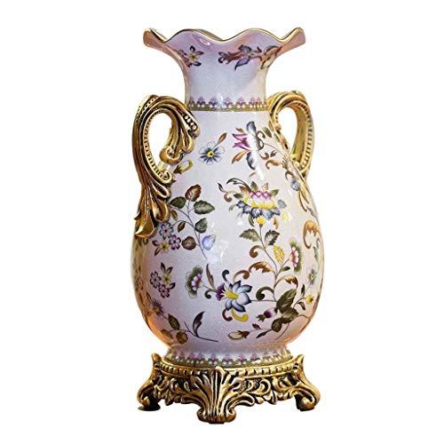 Europees-Style keramiek bloem vaas pot 40 cm hoog met hars basis dubbele oor vorm, ideaal tafelblad decoratie sieraad voor wonen dineren kamer tafel Centerpiece wit