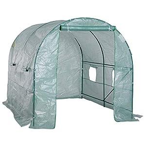 Outsunny Invernadero de Jardín para Cultivo de Plantas Tunel Invernadero Huerto Color Verde Acero Polietileno PE 250 x 200 x 200 cm