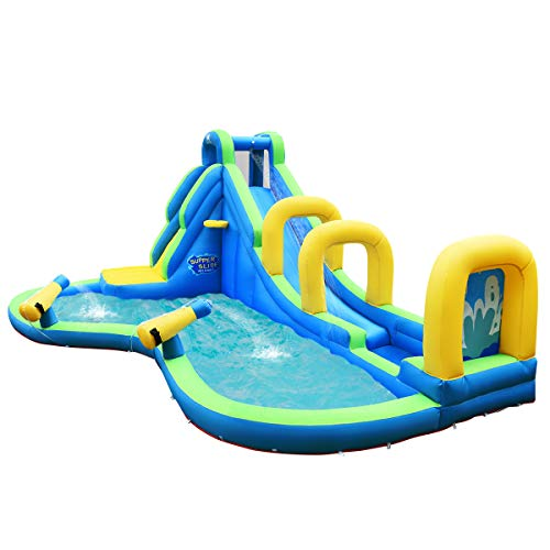 HONEY JOY Inflatable Water Slides, Kids Jumping Bounce House w/2 Water Cannons & Hose, Long Slides with Arch, Climbing Wall & Splash Pool, Outdoor Blow Up Water Park for Backyard (Without Blower)