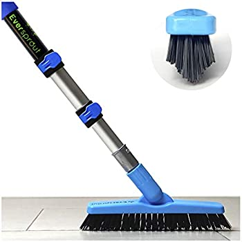 EVERSPROUT 1.5-to-3.5 Foot Grout Brush Scrubber Pro w/ Long Handle Pole | Stiff V-Shape Bristles Built for Corners & Tough Grime | Swivel Design Cleans Shower Tile Kitchen Bathroom Outdoor Concrete