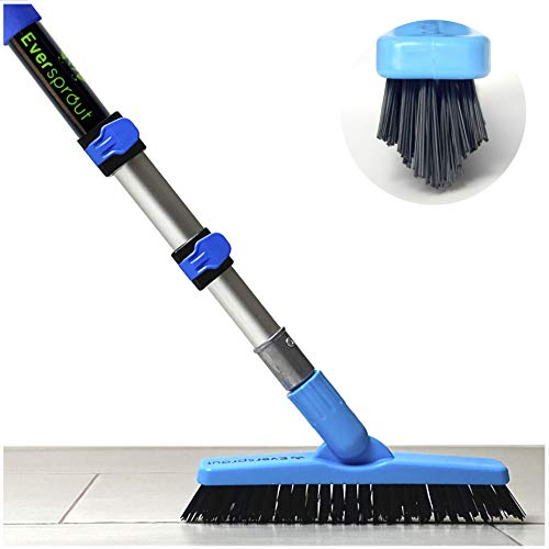 EVERSPROUT 1.5-to-3.5 Foot Grout Brush Scrubber Pro w/ Long Handle Pole   Stiff V-Shape Bristles Built for Corners & Tough Grime   Swivel Design Cleans Shower Tile, Kitchen, Bathroom, Outdoor Concrete