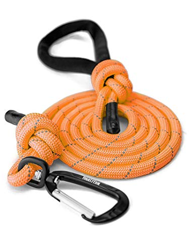 Mighty Paw Rope Dog Leash, Premium Climbers Rope, 6 Foot Long with Reflective Stitching, Climbers Carabiner Clip (6 Feet, Orange)