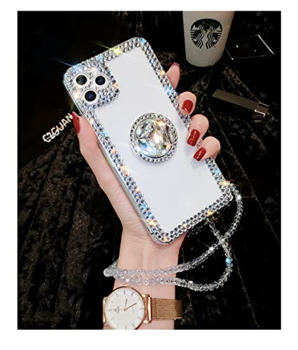 LIUYAWEI Estuche para teléfono con Soporte de Hebilla de Anillo de Diamantes de imitación con Brillo Brillante de Lujo para iPhone 11 12 Pro MAX X XS XR 7 8 Plus, 1, para iPhone 8