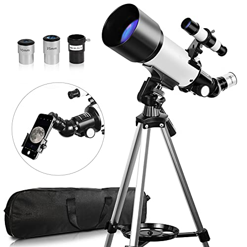 Teleskop für Erwachsene, 70 mm Öffnung, 400 mm Brennweite, Teleskop für Erwachsene, Astronomie-Reise-Refraktor-Teleskop mit Tragetasche, Geschenk für Kinder