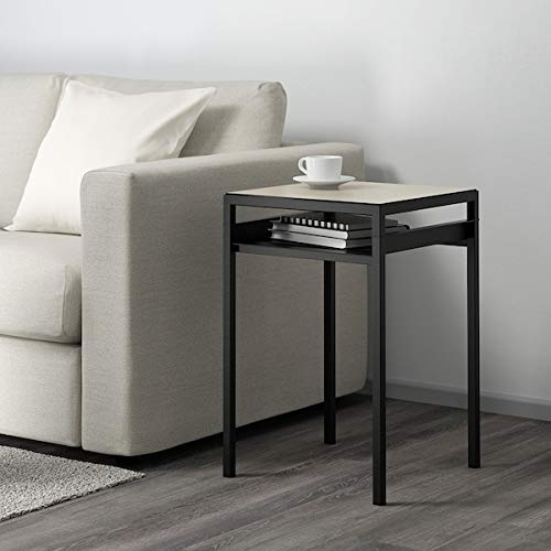 UK Bargain Seller NYBODA Side table w reversible table top, black/beige, 40x40x60 cm durable and easy to care for. Side tables. Coffee & side tables. Tables & desks. Furniture. Environment friendly.