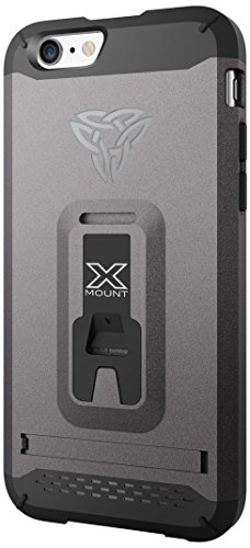 Armor-X Rugged Case Cover, Armor-X [ Belt Clip with Kick-stand with X-Mount ] Tough Eco-System for Bike, Car and Armband for Apple iPhone 6/6S 4.7-Inch - Retail Packaging - Grey