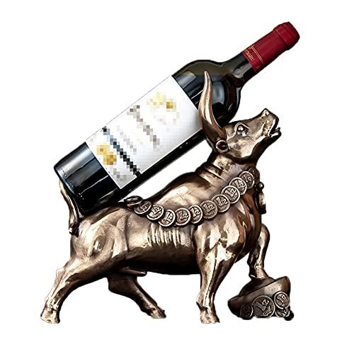 ZYQ Estante De Vino De Resina De Escultura De Vaca Inicio Cocina Soporte De Botella De Vino De Mesa Independiente (Color : Brown, Size : 30 * 30 * 13 cm)