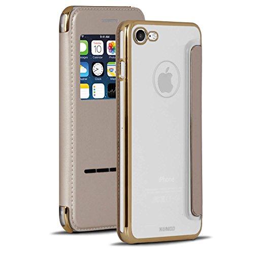 Transparant Book Case Met Bling Voor Apple iPhone 7/8 | Goud | Glas en TPU |
