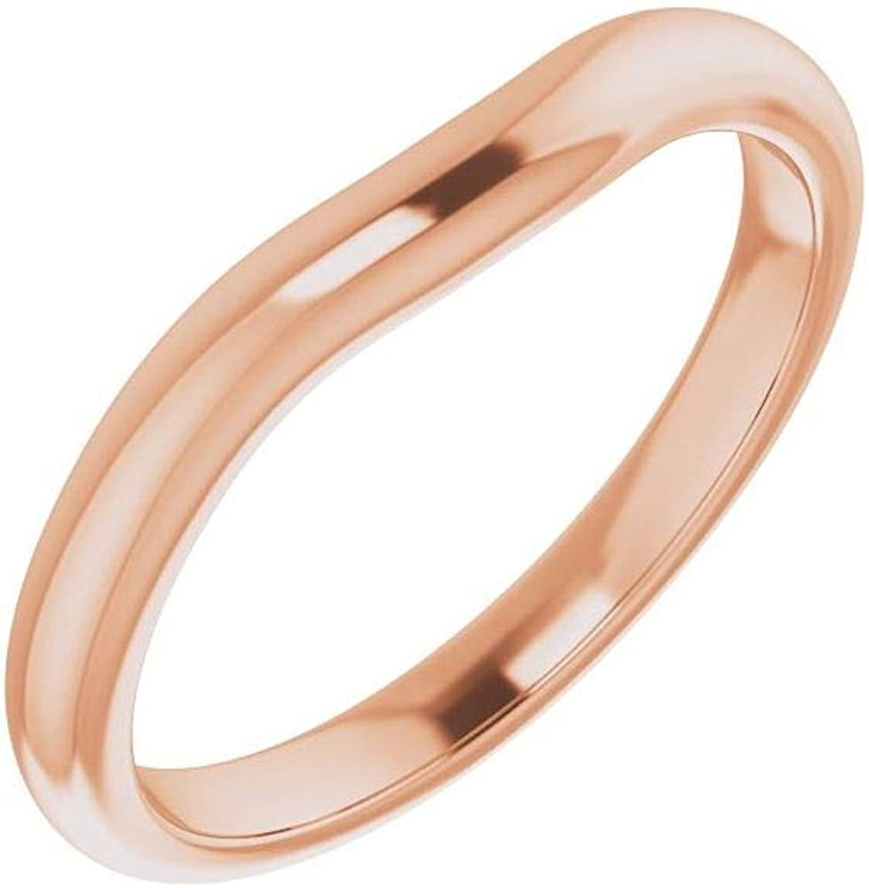 Solid 18K Rose Gold Curved Notched Heart Band Wedding New product!! 5x5mm Sales for sale